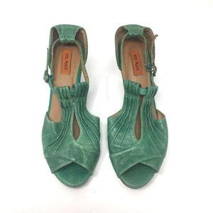 Miz Mooz Whitley Green Leather Heels 6.5